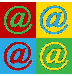 Pop art email icons vector