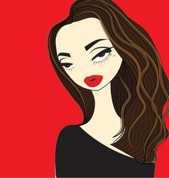 A girl with red lips color vector