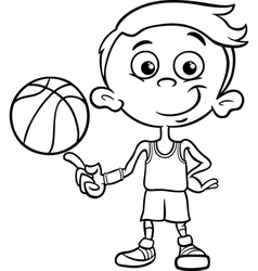 Boy basketball player coloring page vector