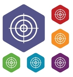Aim hexagon icon set vector