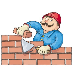 Bricklayer at the work vector