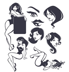 Pinup collection vector