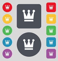 King crown icon sign a set of 12 colored buttons vector