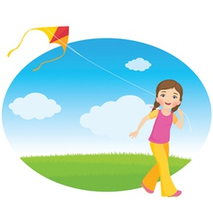 Girl with a kite vector