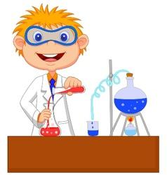 Boy cartoon doing chemical experiment vector