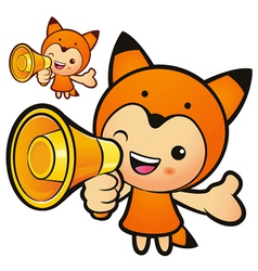 Loudspeaker with a fox mascot vector