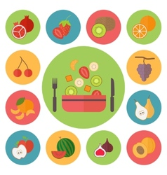 Fruit icons food set for cooking restaurant menu vector