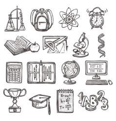 School education sketch icons vector