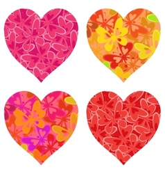 Valentine hearts with butterflies pattern vector