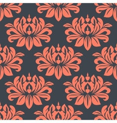 Seamless red peony flowers pattern vector