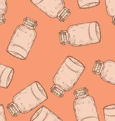 Sketch jar with cork in vintage style vector