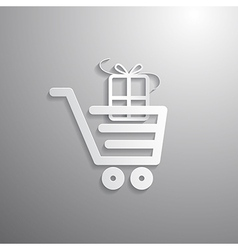 Shopping cart basket symbol with gift box vector