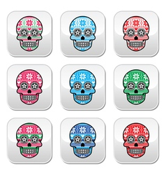 Mexican sugar skull buttons with winter nordic pat vector