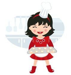 Girl baking cookies vector