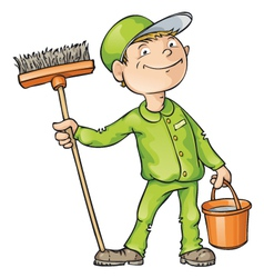 Cleaner holding a brush and a bucket vector
