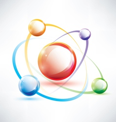 Atom structure abstract glossy icon vector