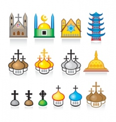 Religious temples and worship places vector