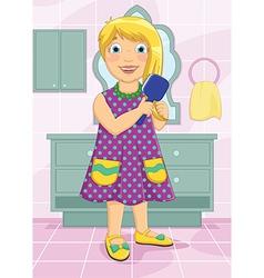 Girl brushing hair vector