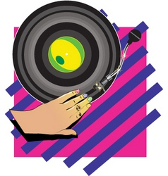 Female hand dj vector