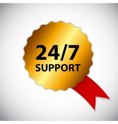 24-7 support sign label template vector
