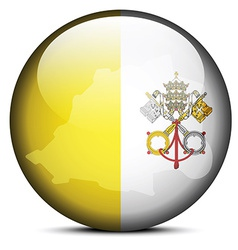 Map on flag button of vatican city state holy see vector