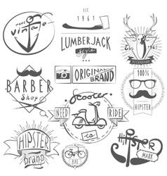 Hipster vintage labels set black vector
