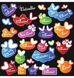 Valentine heart labels with text vector