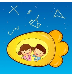 Boys and girls traveling on a plane spacecraft vector