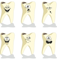 Emotion tooth cartoon set 009 vector