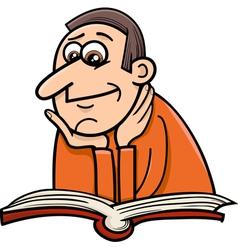 Reader man cartoon vector