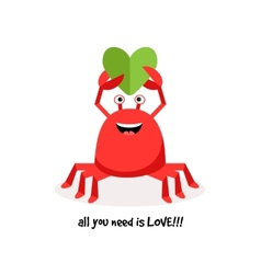 Cartoon crab in love with paper heart vector