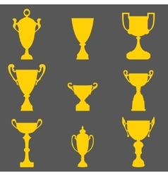 Trophy cup icons vector