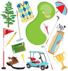 Golf icons and elements vector