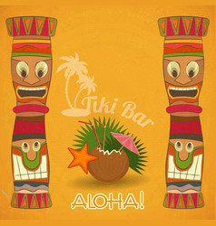 Vintage hawaiian tiki bar vector