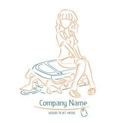 Girl sits on overflowed suitcase vector