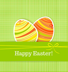 Easter eggs on green seamless linen background vector