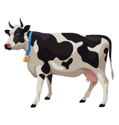 Black and white cow side view isolated vector