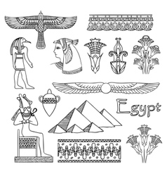 Egypt architecture and ornaments set vector