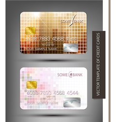 Templates credit cards with abstract square patter vector
