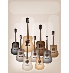 Classical guitars on beautiful brown background vector
