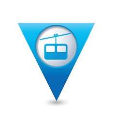 Chair lift icon on blue triangular map pointer vector