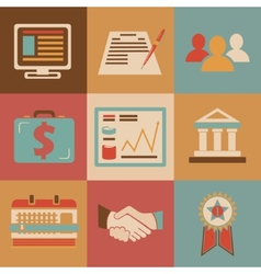 Retro flat design style business icons for web and vector