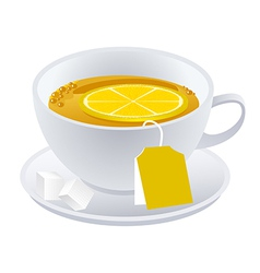Cup of black tea with lemon vector