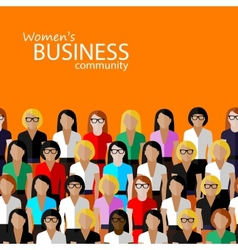 Flat of women business community a large group of vector