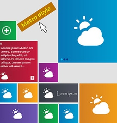 Weather icon sign metro style buttons modern vector