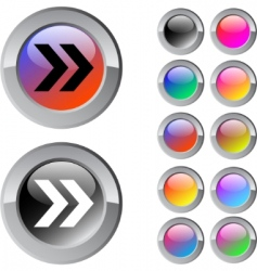 Forward arrow multicolor round button vector