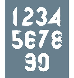 White handwritten numbers doodle brushed figures vector