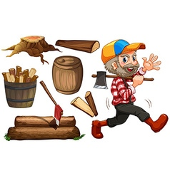 Lumber jack and wood vector