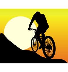 Silhouette of a mountain biker vector