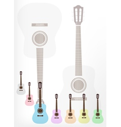 A set of colorful classical guitars background vector